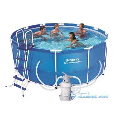 Каркасный бассейн 56420-S Round Steel Pro Bestway (круг) 3,66х1,22м, полный комплект с песочным насосом