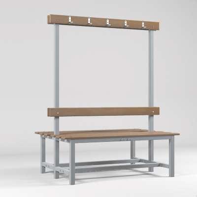 Скамейка с вешалкой для раздевалок двухсторонняя (цельная) 1200 мм