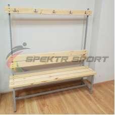 Скамейка с вешалкой для раздевалок (цельная) 1600 мм