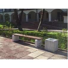 Бетонная скамья уличная, без спинки, Бабочка л-3