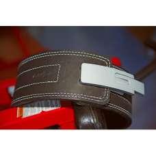Пояс для пауэрлифтинга кожаный двухслойный с карабином Onhillsport