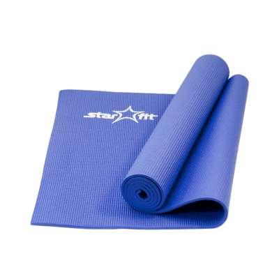Коврик для йоги fm-101 pvc 173x61x0,6 см, темно-синий