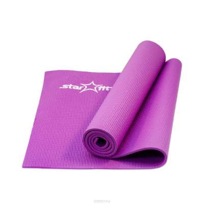 Коврик для йоги fm-101 pvc 173x61x0,8 см, фиолетовый