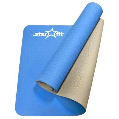 Коврик для йоги fm-201 tpe 173x61x0,5 см, синий серый
