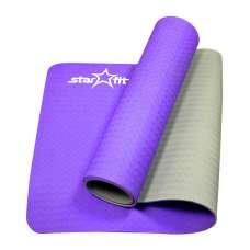 Коврик для йоги fm-201 tpe 173x61x0,6 см, фиолетовый серый