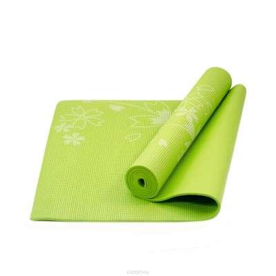 Коврик для йоги fm-102 pvc 173x61x0,4 см, с рисунком, зеленый