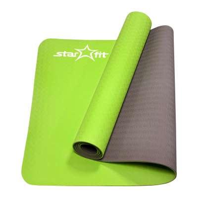Коврик для йоги fm-201 tpe 173x61x0,4 см, зеленый серый