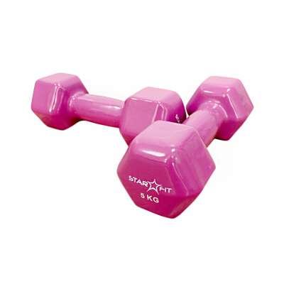 Гантель виниловая starfit sf-5011 5 кг, розовая (пара)