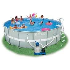 Каркасный усиленный бассейн Ultra Frame 26336 (круг) 5,49х1,32м, полный комплект, хлорогенератор