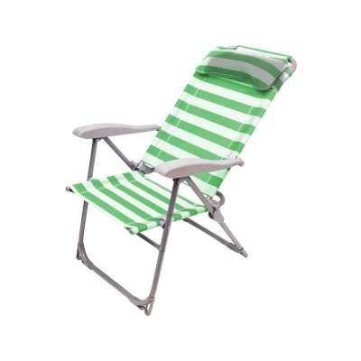 Кресло-шезлонг складное 2 зеленый-белый (к2)