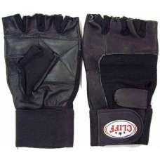 Перчатки тяжелоатлета черные(нат кожа)