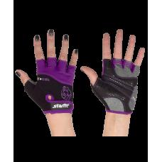 Перчатки для фитнеса SU-113, черные/фиолетовые/серые STARFIT