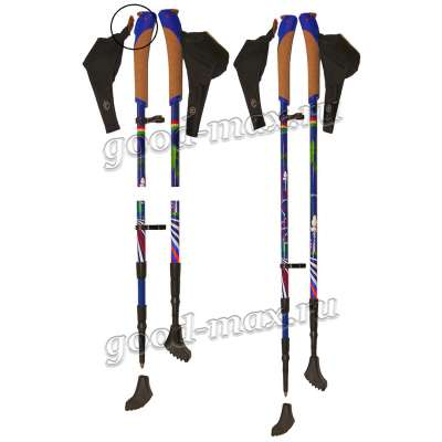Карбоновые телескопические палки для скандинавской ходьбы «ergocarbonmini-blue»