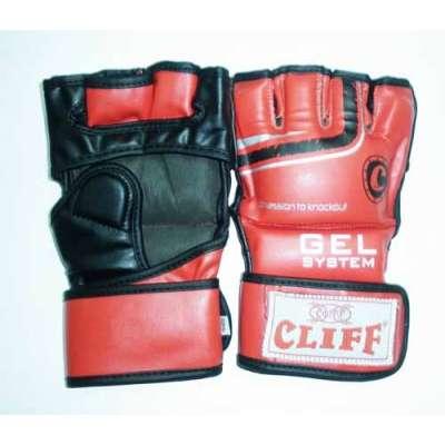 Перчатки ММА красно-черные 6065, с закрытым большим пальцем