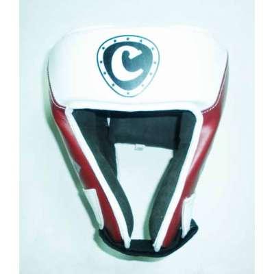 Шлем боксерский (кожа) т/красно-белый